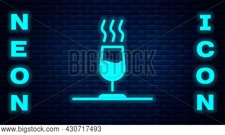 Glowing Neon Wine Tasting, Degustation Icon Isolated On Brick Wall Background. Sommelier. Smells Of