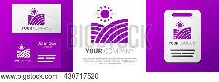 Logotype Vineyard Wine Grapes Hills Farm Icon Isolated On White Background. Vine Plantation Hills La
