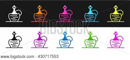 Set Wine In Italian Fiasco Bottle Icon Isolated On Black And White Background. Wine Bottle In A Ratt