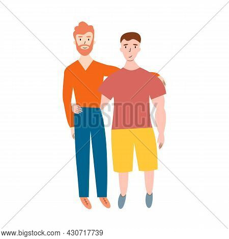 Happy Gay Couple Family Standing Together. Two Man Homosexual In Casual Clothing Hugging Each Other.