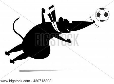 Cartoon Rat Or Mouse Plays Football Illustration.  Cartoon Rat Or Mouse Kicks A Ball Black On White