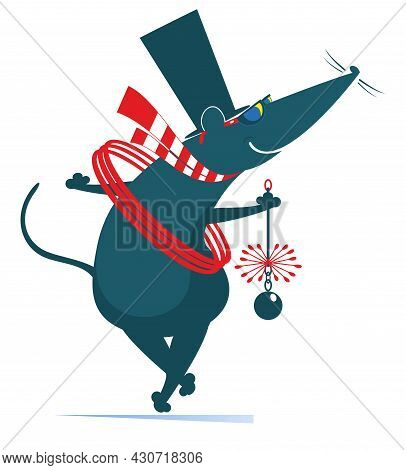 Cartoon Rat Or Mouse A Chimney Sweeper Illustration. Funny Rat Or Mouse A Chimney Sweeper In The Top