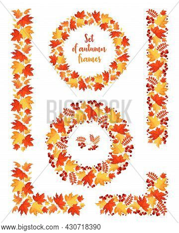 Set Of Frames And Dividers From Autumn Leaves. Decor Elements From Maple Leaves, Rowan Leaves And Be