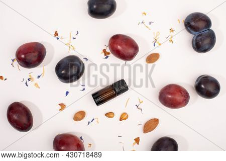 Plum Kernel Oil And Fresh Plum Fruits. Organic Cosmetic.