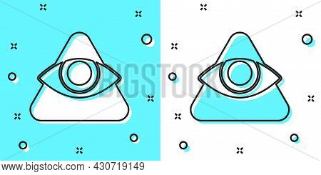 Black Line Masons Symbol All-seeing Eye Of God Icon Isolated On Green And White Background. The Eye