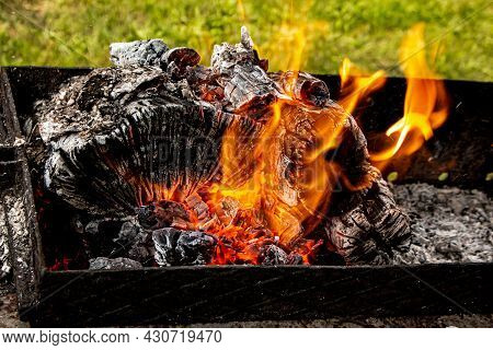 Campfire Coals, Firewood Burning On Grill. Texture Fire Bonfire Embers. Smoldering Fire. The Hot Emb