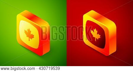 Isometric Canadian Maple Leaf Icon Isolated On Green And Red Background. Canada Symbol Maple Leaf. S