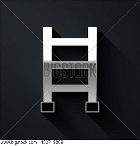 Silver Fire Escape Icon Isolated On Black Background. Pompier Ladder. Fireman Scaling Ladder With A