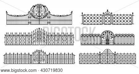 Decorative Fences And Gates. Set Of Vintage Wrought Metal Fences With Gates. Isolated Black Silhouet