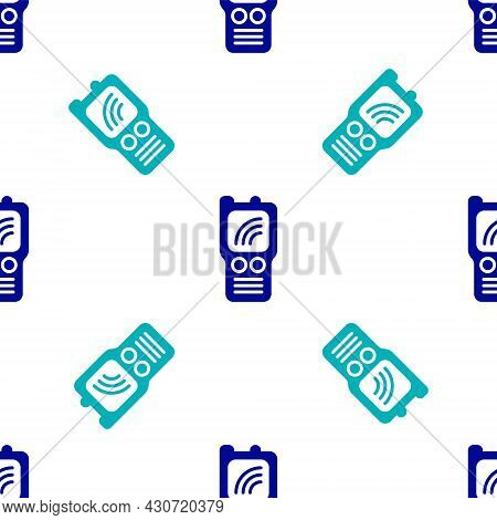 Blue Walkie Talkie Icon Isolated Seamless Pattern On White Background. Portable Radio Transmitter Ic