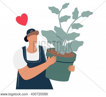 Growing A Plant In The Flower Pot. Cute Cartoon Woman Holding A Pot With A Green Tree That Has Big L