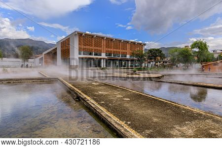 Banos Del Inca, Cajamarca/peru - 19.12.2019: Steaming Thermal Water In The Pools Of The