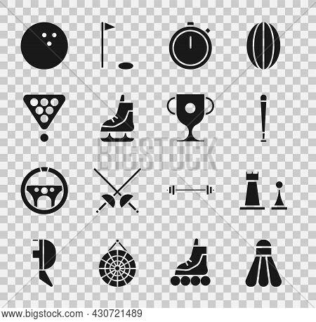Set Badminton Shuttlecock, Chess, Baseball Bat, Stopwatch, Skates, Billiard Balls Rack Triangle, Bow