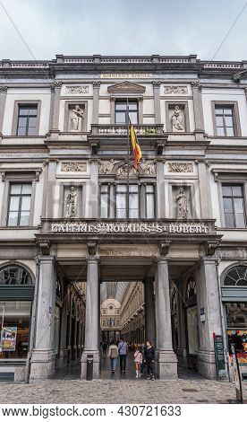 Brussels, Belgium - July 31, 2021: Monumental Entrance To Galeries Royales St. Hubert Is Iconic And