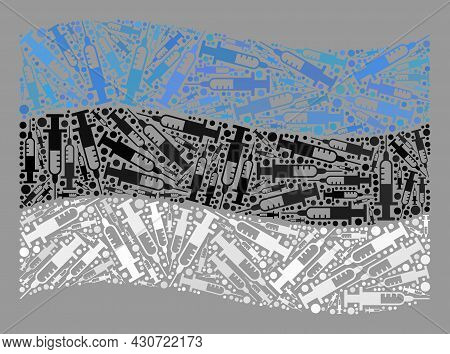 Mosaic Waving Estonia Flag Designed With Vaccine Elements. Vector Vaccine Collage Waving Estonia Fla