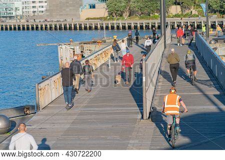 Wellington New Zealand - July 30 2021; People Walking To And Fro Along The Great Harbour Way Also A