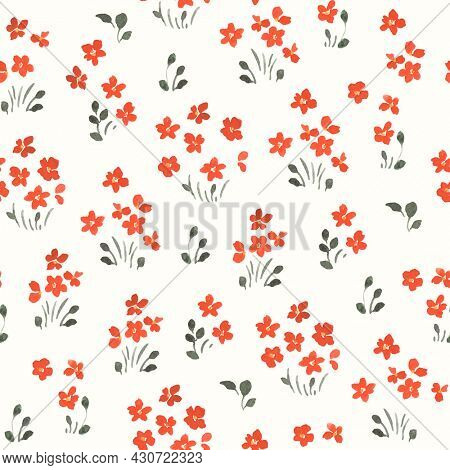 Floral seamless pattern with simple red flowers, watercolor print on ivory background.
