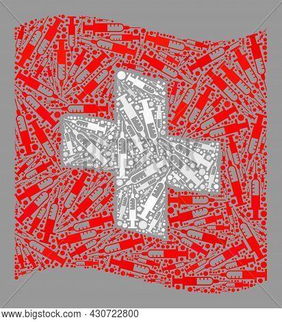 Mosaic Waving Swiss Flag Created Of Needle Icons. Vector Inoculation Collage Waving Swiss Flag Creat
