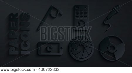 Set Camera Shutter, Microphone, Online Play Video, Cd Or Dvd Disk, Remote Control And Icon. Vector