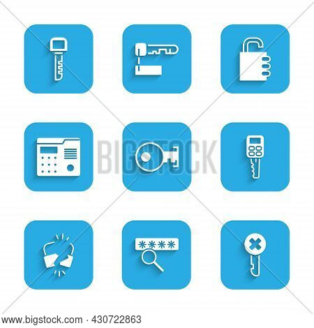 Set Key, Password Protection, Wrong Key, Car With Remote, Broken Cracked Lock, House Intercom System