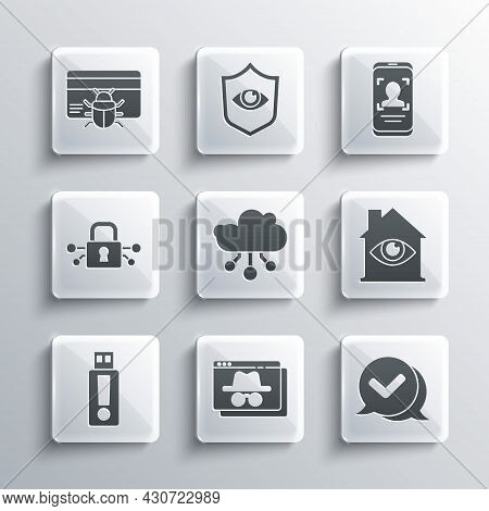 Set Browser Incognito Window, Check Mark Speech Bubble, House With Eye Scan, Internet Of Things, Usb