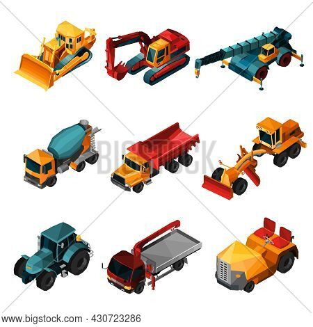 Isometric Construction Machines Set With Low Poly Bulldozer Tractor And Excavator Isolated Vector Il