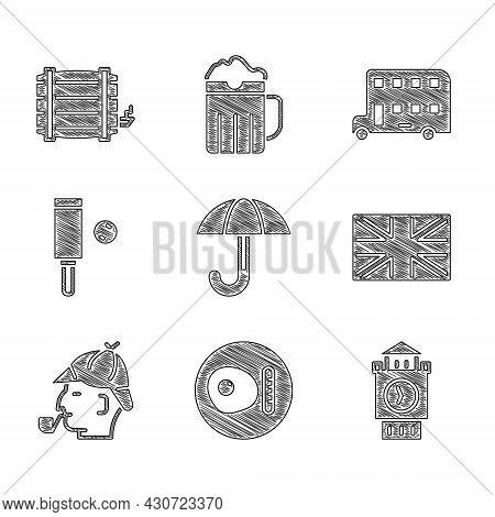 Set Umbrella, British Breakfast, Big Ben Tower, Flag Of Great Britain, Sherlock Holmes, Wood Cricket