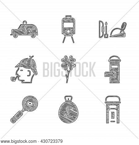 Set Four Leaf Clover, Money Bag With Pound, London Phone Booth, Mail Box, Magnifying Glass, Sherlock