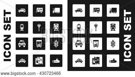 Set Delivery Cargo Truck, Road Traffic Signpost, Train And Railway, Hatchback, Rv Camping Trailer, T