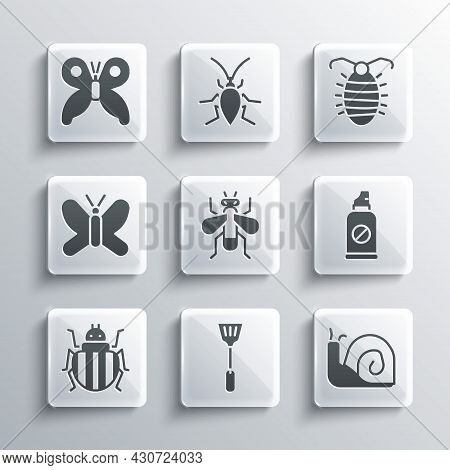 Set Fly Swatter, Snail, Spray Against Insects, Insect Fly, Colorado Beetle, Butterfly, And Larva Ico