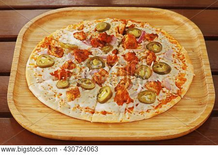 Spicy Chicken Pizza, Spiced Chicken Cubes And Mozzarella Cheese Combination On Flat Bread, Italian F