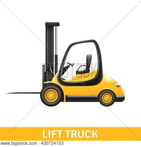 Yellow Small Lift Truck For Loading And Unloading At Warehouse Realistic Vector Illustration