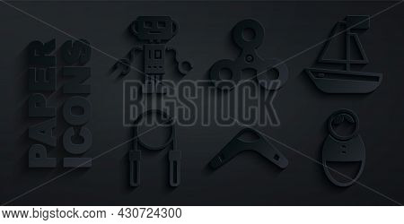 Set Boomerang, Toy Boat, Jump Rope, Tumbler Doll Toy, Fidget Spinner And Robot Icon. Vector