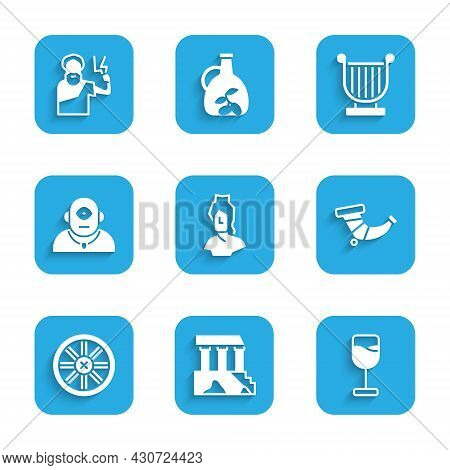 Set Ancient Bust Sculpture, Parthenon, Wine Glass, Hunting Horn, Old Wooden Wheel, Cyclops, Lyre And