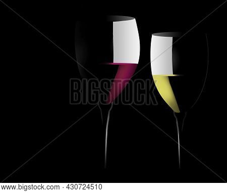 A Glass Of Red Wine And A Glass Of White Wine Are Seen In A Dramatic Light In This 3-d Illustration.