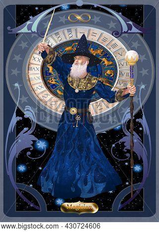 Magician Card 3d Illustration - A Magician Is A Sorcerer Who Casts Supernatural Spells And Makes Mag