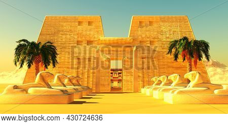 Temple Of Horus Exterior 3d Illustration - The Horus God Of Egyptian History Depicted By The Falcon