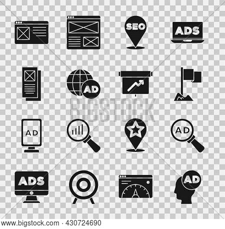 Set Advertising, Location Marker, Seo Optimization, Browser Window, And Board With Graph Chart Icon.