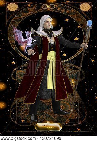 Wizard Card 3d Illustration - A Wizard Is A Sorcerer Who Casts Supernatural Spells And Makes Magic P