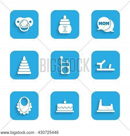 Set Baby Monitor Walkie Talkie, Cake With Burning Candles, Potty, Shoes, Bib, Pyramid Toy, Speech Bu