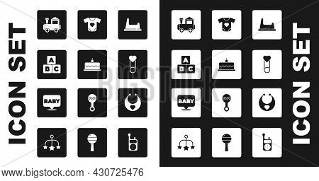 Set Baby Potty, Cake With Burning Candles, Abc Blocks, Toy Train, Clothes Pin, Bib And Icon. Vector
