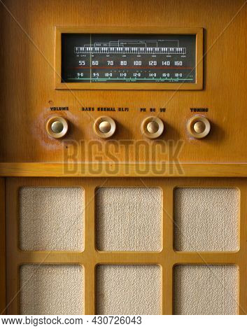 Vintage Old Fashion Radio Close Up Of Dials And Tuning
