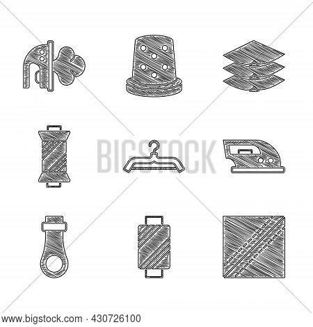 Set Hanger Wardrobe, Sewing Thread On Spool, Textile Fabric Roll, Electric Iron, Zipper, Layers Clot