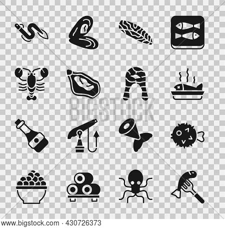 Set Served Fish On A Plate, Fish Hedgehog, Steak, Mussel, Lobster, Eel And Icon. Vector