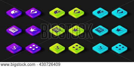Set Casino Chip And Playing Cards, Deck Of, Slot Machine With Jackpot, Joker, Diamond And Slot Clove