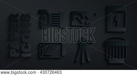 Set Tripod, Battery For Camera, Camera Photo Lens, Photo Retouching And Icon. Vector