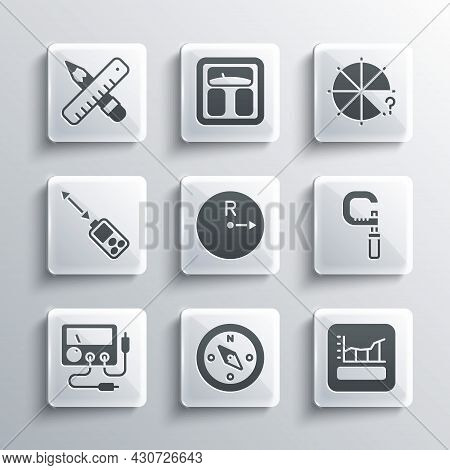 Set Compass, Graph, Schedule, Chart, Diagram, Micrometer, Radius, Multimeter, Voltmeter, Laser Dista