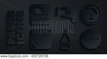 Set Drawing Compass, Speedometer, Diagonal Measuring, Radius, Approximate Measurements And Area Icon