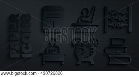 Set Alarm Clock, Abacus, Schoolboy Sitting At Desk, Book, Male Kid Raising Hand And Exam Paper With