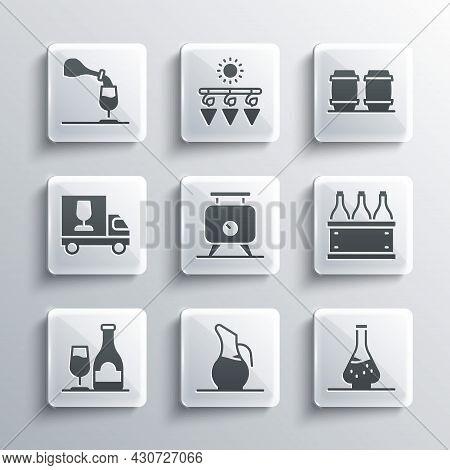 Set Decanter For Wine, Bottles Of Box, Fermentation Grapes, Wine Bottle With Glass, Truck, Tasting,